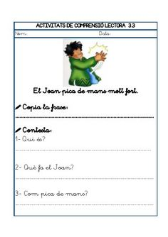 Dori dos 1112_mt005_r1_comprensio_lectora_3 Maila, Worksheets, Valencia, Teaching, Sentences, Reading Comprehension, Color By Numbers, Vocabulary, Teaching Manners