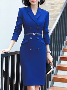 Fold-Over Collar Double Breasted Plain Bodycon Dress - Moda daily Classy Dress, Classy Outfits, Classy Casual, Women's Dresses, Fashion Dresses, Fashion Coat, Pretty Dresses, Casual Dresses, Ladies Day Dresses