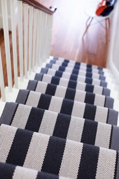 Carpet Runners Over Carpeted Stairs Black And White Stairs, White Staircase, Staircase Runner, Staircase Design, Staircase Ideas, Stair Runners, Stair Design, Staircase Remodel, Rug Runners