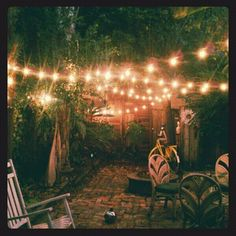 Love overhanging white lights on a patio - a la Parenthood