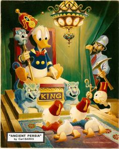 """Carl BARKS 1971 original oil painting from the famous story """"Ancient Persia"""""""