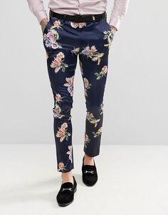 ASOS WEDDING Super Skinny Suit Pants With Navy Floral Print - Navy