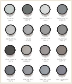 Some of the best grays (and blues) are made by Behr. This chart has a mix of warm and cool Behr grays.