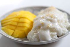 Sweet Sticky Rice topped with Reduced Coconut Milk that was slowly simmered with Sugar and is served with Delicious Ripe Mango