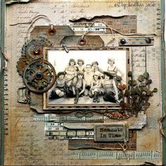 art and life: grungy scrapbook layout, vintage Heritage Scrapbook Pages, Scrapbook Page Layouts, Scrapbook Cards, Scrapbook Cover, Wedding Scrapbook, Scrapbooking Vintage, Mixed Media Scrapbooking, Scrapbooking Ideas, Creation Deco