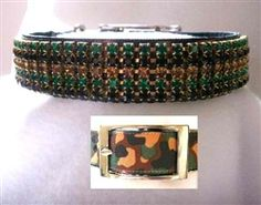 """Starting at $40.95 - The Green Camo Crystal Dog Collar is a big 1"""" wide! It features green, brown and black crystals on a camouflage collar.  A stunning statement-piece to complete any camouflage ensemble for your pets!  Available in sizes S-8XL at Sugar Chic Couture:  https://www.sugarchiccouture.com/ProductDetails.asp?ProductCode=GCCDC-506 #doglovers #shop #dogs #gifts #fashion #puppies #USA #camouflage #star #army #fatigue #military #crystal #rhinestone #dogcollar"""