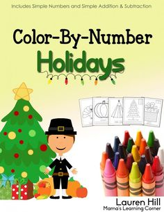 Color By number Holidays - 55 pages of Thanksgiving and Christmas-themed coloring pages!