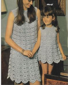 Vintage 70s Crochet Mom and Daughter Dresses Pattern Adorable dresses for mom and daughter... Refer to last photo for materials and sizes ♥´¨) ¸.•´ ¸.•*´¨)¸.•*¨) (¸.•´ (¸.•`♥ Instant Download ******* Check my other wedding crochet gowns and bridal crochet dresses patterns here: https://www.etsy.com/shop/Liloumariposa?section_id=17061095&ref=shopsection_leftnav_2 ********* ♥Some of the suggested material brands on this pattern cannot be available due this pattern is from the 60s. Use the m...