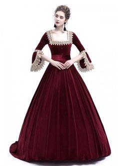 Red Velvet Ball Gown Victorian Gown D3008 - D-RoseBlooming