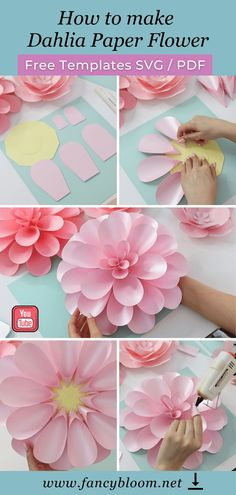 Let's make Dahlia paper flower together? Jump into the video tutorial on YouTube, where I show you how to make this gorgeous flower step-by-step very easily! And don't forget to grab free templates! You can download them using the link attached to this pin. Paper dahlia, paper flower, diy paper flower, dahlia paper flower, paper flower templates svg, pdf, paper flower tutorial, giant paper flower easy Giant Paper Flowers, Flower Paper, Paper Flower Backdrop, How To Make Paper Flowers, Diy Backdrop, Fabric Flowers, Big Flowers, Beautiful Flowers, Paper Dahlia