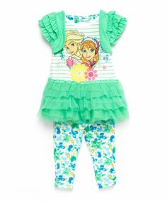Look at this Green Anna & Elsa Layered Tunic & Leggings - Toddler & Girls on #zulily today!