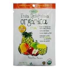 FRUTA DESHIDRATADA ORGANICA MIX-15 g - Rico snack de fruta liofilizada, lo que permite guardar todos sus nutrientes de manera natural con una crujiente textura. Es una fuente natural de vitaminas y fibras, libre de gluten y libre de grasa. Snack perfecto para ti o para tus hijos. $20