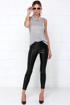8e9a3c767951 18 Best outfits with leather pants images | Black Leather, Black ...