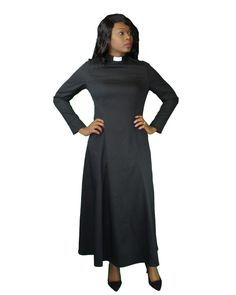 Full Length Clergy Dress Black