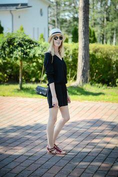 Black playsuit, Chanel bag, Les Tropeziennes sandals