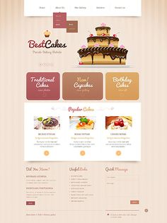 Responsive #Bakery website theme. $69. #responsiveDesign. #Cakes