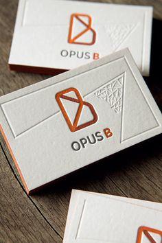Cartes de visite restaurant Opus B, impression typo 3 couleurs et débossage à sec / letterpress business cards printed whith 3 colors and…