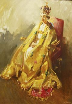 A portrait of The Queen by Sir Terence Cuneo is seen at the Ceremony and Celebration: Coronation Day 1953 exhibition at the Summer Opening of the State Rooms at Buckingham Palace July 31, 2003 in London.