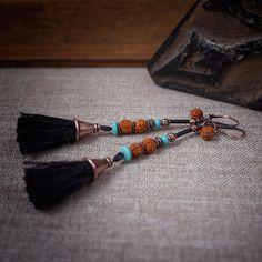 tassel earrings • tribal earrings • nomad • grey black pom pom • rudraksha beads • ethnic jewelry • long earrings • turquoise • bohemian by entre2et7 on Etsy