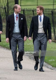 Prince Harry and Prince William, Duke of Cambridge attend the wedding of Pippa Middleton and James Matthews at St Mark's Church on May 20, 2017 in Englefield Green, England.