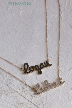 Fabulous 14K Gold and real White and Black diamonds double name necklace, The most popular and loved custom jewelry made just for you.#namenecklace#diamondname#pushgift#rimon