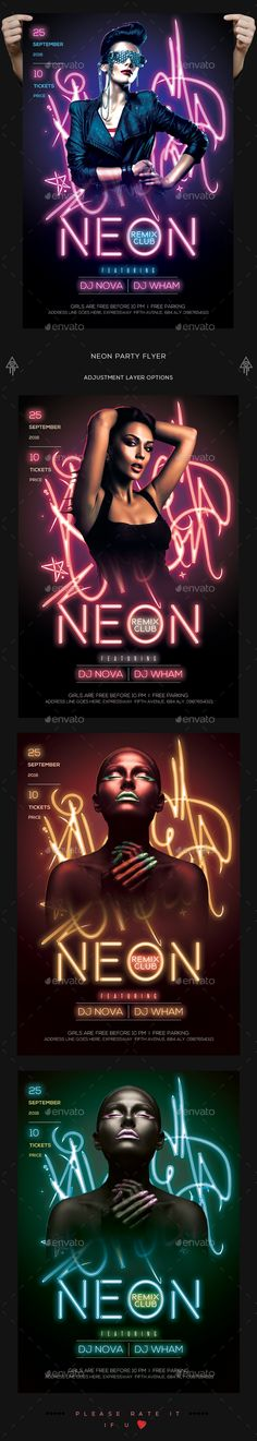 Neon Party Flyer — Photoshop PSD #laser #light up • Available here → https://graphicriver.net/item/neon-party-flyer/18528064?ref=pxcr