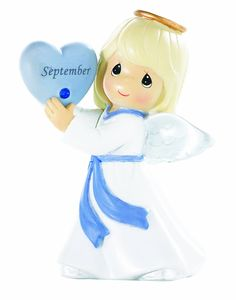Precious Moments September with Sapphire Stone Birthday Angel Figurine - Collectible Figurines