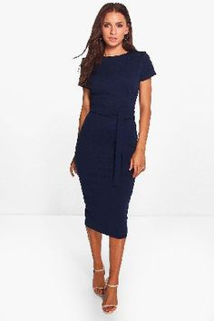 #boohoo Pleat Front Belted Tailored Midi Dress - navy #Eve Pleat Front Belted Tailored Midi Dress - navy