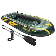 Seahawk Boat Set Lake 4 Person Inflatable Aluminum Oars High Output Air Pump #Boating