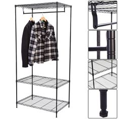 3-Tier Clothing Garment Rack Hanger Shelving Wire Shelf Dress Wardrobe Portable