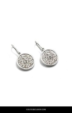 Tresor Collection - Signature Logo Earrings In 15mm With Diamond In 18k White Gold | www.couturecandy.com