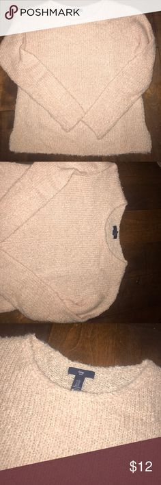 Fuzzy pink sweater Cozy Pastel pink sweater. Never worn. Oversized XS I say it can fit a regular M GAP Sweaters Crew & Scoop Necks