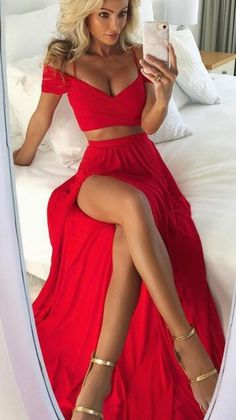 prom dress, two piece prom dress, 2018 prom dress, red prom dress, long prom dress with slit