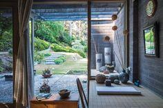 The garden. Artwork: Les Blakebrough  (ceramic tubes).
