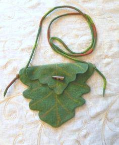 Green Oak Leaf Bag Tree Elf Fairy Handmade by Pennyjanedesigns