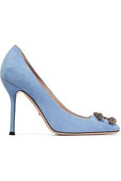 Gucci - Dionysus Embellished Suede Pumps - Light blue - IT39.5