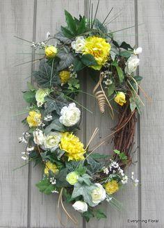 Yellow SPRING WREATH Handmade Door Wreath Silk by EverythingFloral