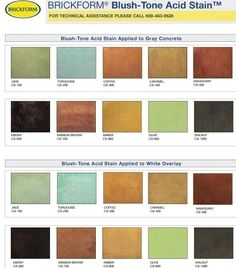 Here is a sample of our favorite acid stain concrete colors from Brickform. Concrete Color, Stain Concrete, Cement Dye, Painting Concrete, Acid Stained Concrete, Painted Floors, Concrete Countertops, Floor Design, Home Remodeling