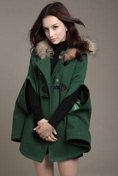 green winter cape coat