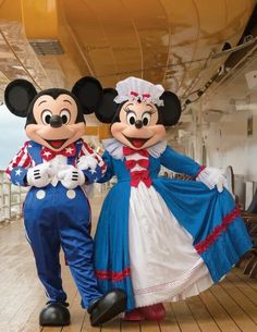 Mickey & Minnie Liberty. Looks like the paddle boat in Liberty Square in WDW. Not sure though.