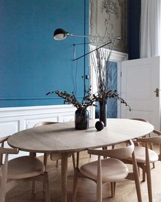 Shop our huge selection of dining room furniture and save Interior Decorating, Interior Design, Dining Room Furniture, Home Decor Inspiration, Colorful Interiors, Dining Table, Dining Area, Kitchen Dining, House Styles