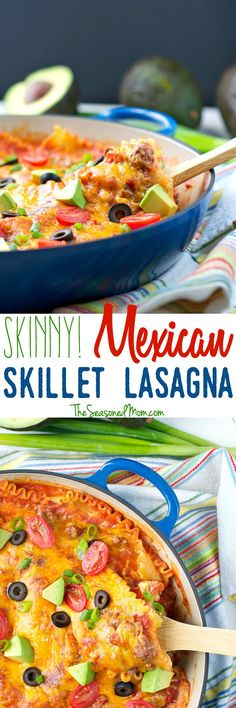 With just one skillet and only 250 calories per serving, this Skinny Mexican Skillet Lasagna is an easy, healthy, and family-friendly dinner that will soon become one of your go-to weeknight meals! Mexican Lasagna, Casserole Recipes, Pasta Recipes, Beef Recipes, Lasagna Recipes, Cooking Recipes, Casserole Dishes, Weeknight Meals, Healthy Dinner Recipes