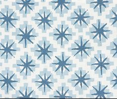 Peter Dunham Starburst Fabric Content: Linen Colorway: Blue/Blue Back: Ivory Linen