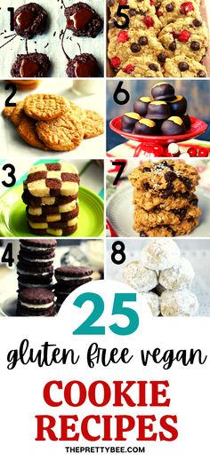 Find the best easy gluten free vegan cookie recipes in this collection! Whether you want chocolate, oatmeal, chewy, crispy, or buttery, there is a delicious cookie recipe here for you! #easy #recipes #oatmeal #christmas #best Gluten Free Vegan Cookie Recipe, Delicious Cookie Recipes, Holiday Cookie Recipes, Yummy Cookies, Dessert Recipes, Desserts, Wheat Free Recipes, Dairy Free Recipes, Easy Recipes