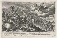 Crispijn van de Passe (I) | Neptunus helpt de Grieken, Crispijn van de Passe (I), 1613 | Neptunus helpt de Grieken, die dan aan de winnende hand zijn. In de marge een vierregelig onderschrift, in twee kolommen, in het Latijn.