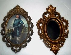Picture frames Oval ornate 2 frames 1 is a  mirror ITALY BURWOOD vintage