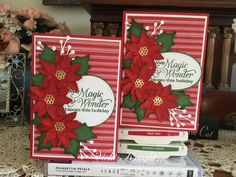 Poinsettia Cards, Christmas Poinsettia, Stampin Up Christmas, Chrismas Cards, Xmas Cards, Christmas Things, Winter Christmas, Holiday, Homemade Christmas Cards