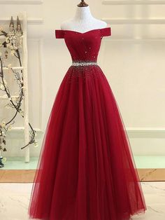 Cheap Prom Dresses Off-the-shoulder Aline Floor-length Long Prom Dress Burgundy Evening Dress by Miss Zhu Bridal, $126.11 USD