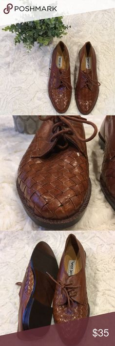 VINTAGE BASKET WEAVE Genuine leather, basket woven. Soles are in amazing condition. Weaving is gorgeous, although has a couple flaws (all pictures). They are just too small for me, sadly. 7.5 but I would say fits more like 7. West 31st Shoes Flats & Loafers
