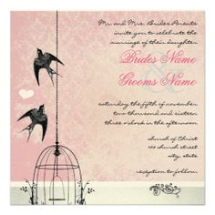 Vintage Peach Damask Bird Cage Save the Date Personalized Announcement